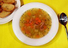 Falešná ovarová polévka s kroupami Cheeseburger Chowder, Thai Red Curry, Cantaloupe, Salsa, Fruit, Ethnic Recipes, Soups, Treats, Sweet Like Candy