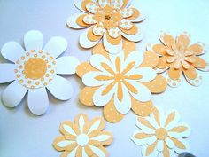 6 White and Peach Paper Flower Embellishments Layered by Wcards, $3.00
