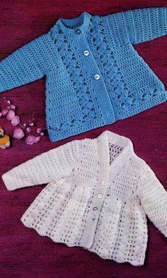 Crochet Baby Bib from Vintage Pattern - AmigurumiHouse Crochet Baby Sweater Pattern, Crochet Baby Bibs, Crochet Baby Sweaters, Baby Sweater Patterns, Baby Clothes Patterns, Crochet Cardigan Pattern, Crochet Baby Clothes, Crochet Jacket, Coat Patterns