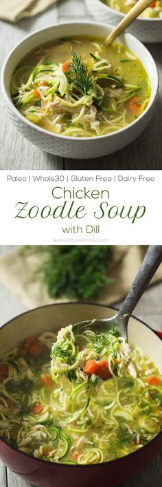 Chicken Zoodle Soup with Dill - comforting and healing recipe with the most amazing broth! (Paleo, Whole30, dairy free, gluten free, grain free, low carb)