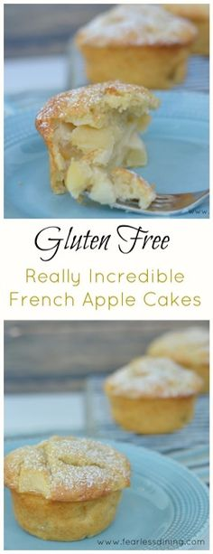 These mouthwatering Gluten Free French Apple Cakes are the best. It is so easy to make gluten free pastry. Fresh apple makes these gluten free apple cakes a family-favorite. Gluten Free Apple Cake, Gluten Free Pastry, Gluten Free Deserts, Gluten Free Sweets, Gluten Free Cakes, Foods With Gluten, Gluten Free Cooking, Gluten Free Recipes, Gluten Free Coconut Cake