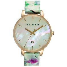 Ted Baker London Floral Print Strap Watch, 40mm ($165) ❤ liked on Polyvore featuring jewelry, watches, charm jewelry, charm watches, ted baker, floral jewelry and floral watches