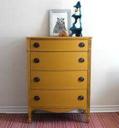 Mustard Yellow Tallboy Dresser  Painted with by Poppyseedliving, $545.00