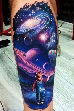 What does universe tattoo mean? We have universe tattoo ideas, designs, symbolism and we explain the meaning behind the tattoo. Leg Tattoos, Body Art Tattoos, Sleeve Tattoos, Fish Tattoos, Arm Tattoo, Tatoos, Alien Tattoo, Trendy Tattoos, Tattoos For Guys