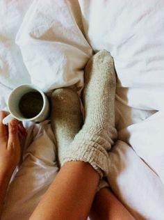Plain duvet, plain wool socks and plain coffee in bed. Good morning!