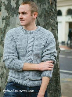 Free crochet pattern:simple cosy chunk cable  sweater for men