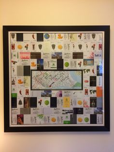 """I created this artwork for my husband's 60th Birthday. He has traveled all of his career as a pilot. It is comprised of all of the hotel keys for a whole years worth of trips. In the center is a map of our town with a heart marking our home, and the words """"You Are My Home Sweet Home!"""""""