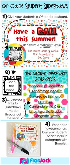 End of the year QR code memory postcards! Free beach ball-themed student postcard template along with step-by-step instructions for creating students slideshows all throughout the year and attaching all of them to one little QR code with just three tools - Animoto, Gmail, and QRstuff.com. If you have just a little bit of tech-savviness in you, this one's for you!