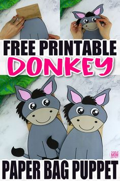 Are you looking for a fun way to put on a puppet show? Click now to download and print our paper bag puppet donkey template. Your kids will love putting on their favorite animal and make funny donkey noises! This donkey paper bag puppet craft is perfect for kids of all ages including preschoolers and toddlers. Safari Animal Crafts, Giraffe Crafts, Animal Crafts For Kids, Fall Crafts For Kids, Craft Activities For Toddlers, Paper Bag Crafts, Paper Bag Puppets, Rainy Day Crafts, Puppet Crafts