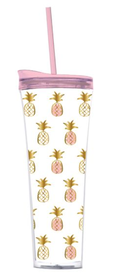 Pineapples for everyday fun! 22oz Acrylic Double Wall Tumbler with Hot Cold Lid and Straw.
