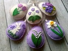 Felt Easter decor, Lilac Easter Eggs, Purple Easter ornaments, Lily of the valley, Violet flowers, Spring flowers by DusiCrafts