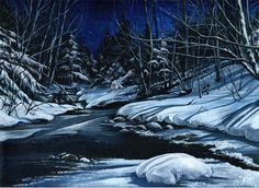 """9"""" X 12"""" Custom Landscape Painting Acrylic on Canvas, Nature, Scenery, Water, Moonlight, snow, Made to order, 10% donation to Animal Rescue! by mylissakArt on Etsy https://www.etsy.com/listing/230528421/9-x-12-custom-landscape-painting-acrylic"""