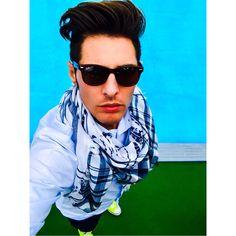 All star fluo Ralph Lauren short and shirt Gucci shawl Ray ban sunglasses