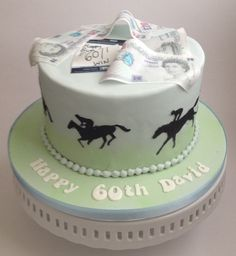 Horse racing themed birthday cake with edible money and betting skip. Novelty Birthday Cakes, Themed Birthday Cakes, 90th Birthday, 40th Cake, Dad Cake, Racing Cake, Sport Cakes, Horse Cake, Cake Cookies
