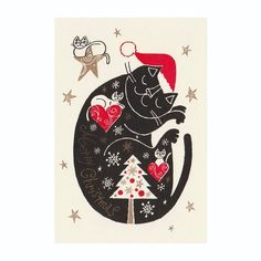 "Okabe Tetsuro Cat Christmas Card ""beneath the stars, Merry Christmas!"""