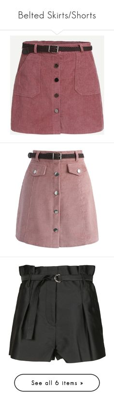 """Belted Skirts/Shorts"" by ellielinder ❤ liked on Polyvore featuring skirts, bottoms, faldas, pink, body con skirt, corduroy skirt, red corduroy skirt, bodycon skirt, corduroy mini skirt and pink maxi skirt"