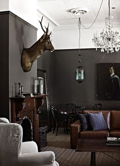 Grey wall brown furniture