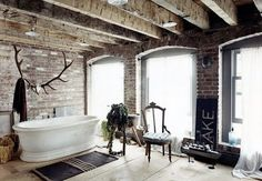 exposed brick in the bathroom