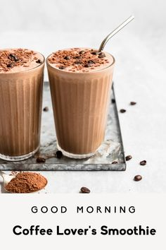 Learn how to make a coffee smoothie with brewed coffee! This delicious, easy coffee smoothie recipe has a hint of chocolate from cacao powder, a boost of protein from collagen peptides and nut butter, and makes a great morning pick-me-up or post-workout breakfast. #smoothies #smoothierecipes #coffee #breakfastrecipes