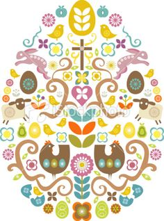 Scandinavian-style Easter egg composition with easter / spring images (bunny, chickens, chicks, lamb, flowers, eggs, cross, etc...)