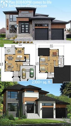 Architectural Designs Modern House Plan 80840PM gives you over 2,100 square feet of living with 3 bedrooms on the upper floor. See interior photos online. Ready when you are. Where do YOU want to build? More