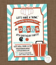 Bowling Birthday Invitation Bowling Birthday Party Invitation Pink