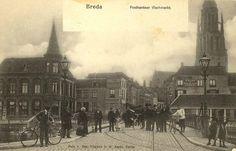 Breda.  Op de voorgrond de hoge brug, rechts de vismarkt en op de achtergrond de Vismarktstraat.  Ca. 1910.