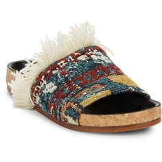 Chloé Kerenn Tapestry Slide Sandals (490 CAD) ❤ liked on Polyvore featuring shoes, sandals, chloe shoes, open toe shoes, black slide sandals, open toe sandals and slip on sandals