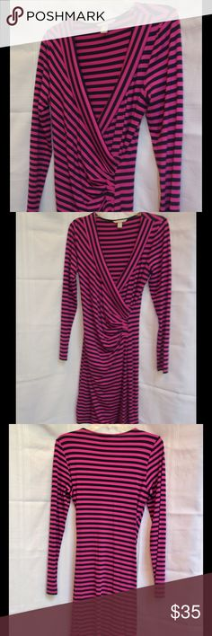 "Banana Republic faux wrap dress Super cute rayon/spandex dress.  Knee length, long sleeved and quite comfortable....no worries about wrinkles!  Sleeves are 26"" long, underarm to underarm is 16.5"", waist is 14"" and length is approx 40"".  Like new!!! Banana Republic Dresses Midi"