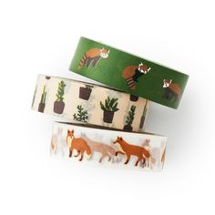 Washi tape 3 set - fox and cactus - winter fox- lesser panda- cactus- value pack- DIY-packaging-decorative tape - weddings - Love My Tapes by LoveMyTapes on Etsy