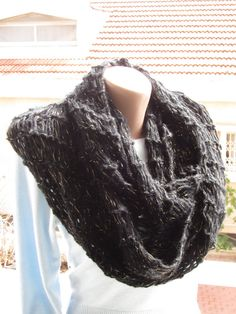 Chunky classy elegant black Infinity Scarf textured soft warm Winter Cowl – black mohair blend  with a golden thread/ Romantic knit textile
