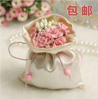50 unidades/monte simples e generoso caixas de presente de casamento casamento elegante cetim sacos de doces do casamento dom sacos caixas de partido