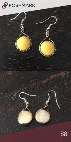 "Drop earrings Neutral yellow tone circle earrings. Retail $16. Measures 1.75"" x .7"" Jewelry Earrings"