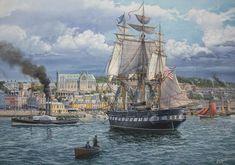 Bella lámina de Tom Freeman mostrándonos a la USS Constellation (25) llevando ayuda a Irlanda durante la hambruna de 1880. Más en www.elgrancapitan.org/foro