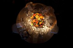 Pin Spot Lighting for Fall Centerpiece at Mildale Farm by Blue Bouquet, www.bluebouquet.com