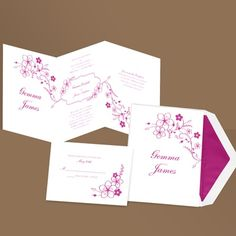 The unique, z-fold design of these white, floral wedding invitations includes your reception wording on the third panel, eliminating the need for a reception card. Matching, non-folding respond cards are available. Choose an ink color for your wording. Design will be printed in the same ink color.    * paper weight - quality 171# text * Includes FREE blank double envelopes