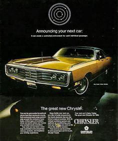 Chrysler 1969 Gold - www.MadMenArt.com | Vintage Cars Advertisement. Features over 1200 of the finest vintage cars until 1970. Status symbol, pride and sense of freedom. #VintageCars #Vintage #Ads #VintageAds