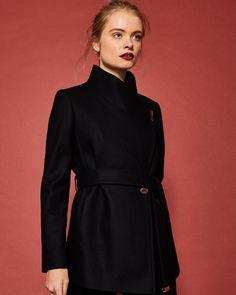 Short wrap cashmere-blend coat - Black | Jackets and Coats | Ted Baker UK