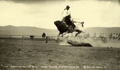 A bull riding cowboy holds tight as the bull lunges airborne, Oregon, 1916.Photograph by Miller Photo Co., National Geographic