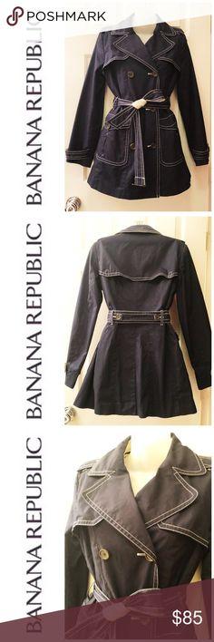 Banana Republic Stitching Navy Trench Coat S Banana Republic Stitching Navy Trench Coat S. There's a removable pad. Banana Republic Jackets & Coats Trench Coats