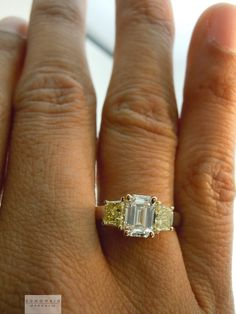 1 Carat Emerald Cut Diamond Ring Yellow Gold