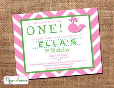 Whale Birthday Party -  Pink & Green Chevron
