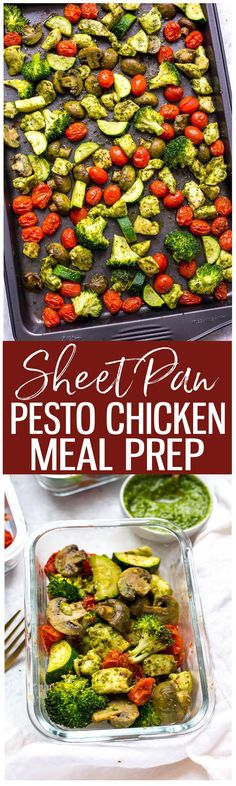 These Sheet Pan Pesto Chicken Meal Prep Bowls are a delicious way to enjoy your veggies and basil pesto, and they're a low carb lunch idea that comes together in 30 minutes!