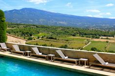 A view of Mt. Ventoux from the poolside of Hotel Crillon Le Brave. My favorite retreat in Provence!