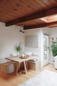 modern dining nook in bay area home. Dining Room Bench, Dining Nook, Dining Room Design, Interior Design Kitchen, Home Design, Dining Table, Built In Dining Room Seating, Small Dining Area, Banquette Seating