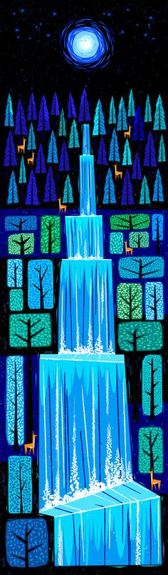 Waterfall by Peter Donnelly, via Behance not totally sure it's a quilt but it could be and it's beautiful