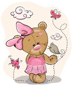 Illustration about Cute Cartoon Girl with bird and butterflies on a pink background. Illustration of dress, view, motion - 70940707 Cartoon Cartoon, Cute Cartoon Animals, Tatty Teddy, Teddy Girl, Bear Clipart, Teddy Bear Pictures, Bear Girl, Baby Painting, Cute Teddy Bears