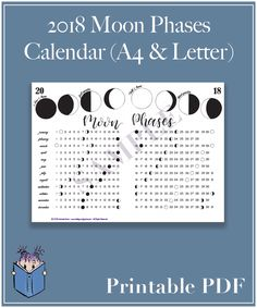 2018 Moon Phase Calendar – A4 and US Letter PDF
