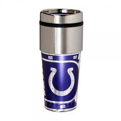 Indianapolis Colts Travel Mug: <ul>  <li>League:NFL</li>  <li>City: Indianapolis</li>  <li>Mascot Name:Colts</li>  <li>Liquid Capacity: 16oz</li>  <li>Color: Silver, Blue</li>  <li>Material Content: Stainless Steel</li> </ul>