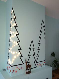X-mas try-out washi tape :) Kerstboom met masking tape en knopen als ballen